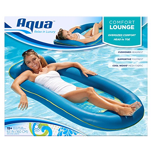 Aqua Comfort Water Lounge, X-Large, Inflatable Pool Float with Headrest & Footrest, Bubble Waves...