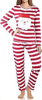 Women's Long Sleeve Fitted Striped Soft Cotton Christmas Sleep Pants Sleepwear Pajamas Set