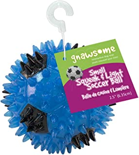 """Gnawsome 2.5"""" Squeak & Light Soccer Ball Dog Toy - Small, Promotes Dental and Gum Health for Your Pet, Colors will vary"""