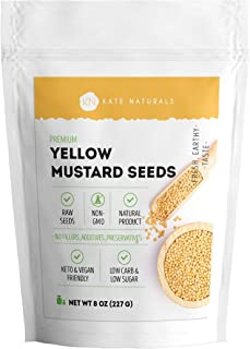 Yellow Mustard Seeds - Kate Naturals. Perfect for Pickling & Enhancing Flavor in Food. Fresh Whole Seeds. Large Resealable...