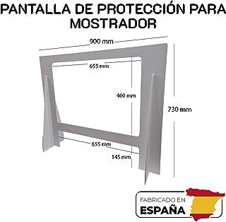 Pantalla de Protección para mostrador de 900x730mm. Mampara ligera y resistente fabricada en PVC ALTA DENSIDAD, con ventana de PTEG de 500micras de grosos con tratamiento antireflejo