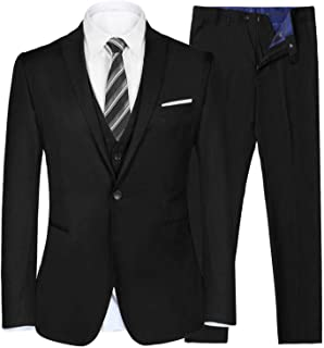 iClosam Men's 3 Piece Regular Fit Business Suit Tuxedo with Vest Jacket and Trousers