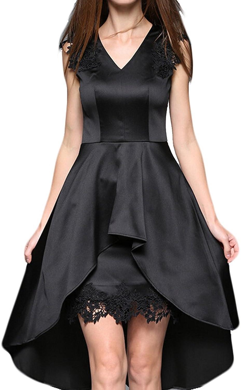 GAGA Women's Sexy VNeck Lace Waist Cocktail Dress