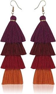 Loveliome Long Dangle Earrings for Women, Bohemian Colorful Layered Tassel Drop Earrings