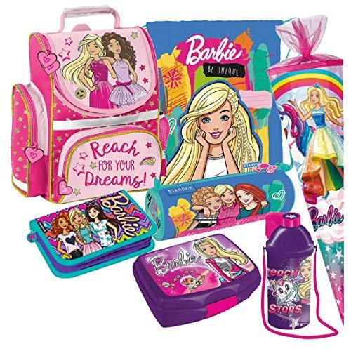 Barbie Schulranzen 7 Teile Set RANZEN FEDERMAPPE TORNISTER SCHULTÜTE 85 cm