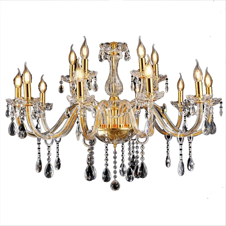 10+5-flammig Golden Kristall Hngeleuchte Klassisch Kronleuchter Pendelleuchte Deckenleuchte antik Kristall Lüster E14