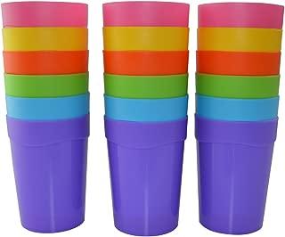 18pc Bekith Reusable Break-resistant BPA-Free Plastic Cup Tumblers in 6 Assorted Colors