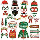 32 PCS Ugly Christmas Sweater Party Photo Booth Props Tacky Christmas Sweater Party Centerpiece for Christmas Party Decorations Wintertime Holiday Gathering Office Xmas Party Supplies