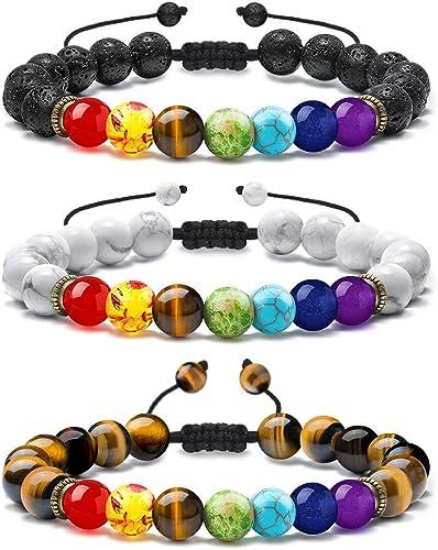 MONOZO Bead Chakra Bracelet - 7 Chakras 8mm Lava Rock Stone Anxiety Bracelet Essential Oil Diffuser Stone Yoga Beads ...