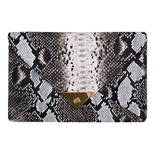 Van Caro Women's Faux Leather Snake Envelope Clutch Handbag Chain Bag