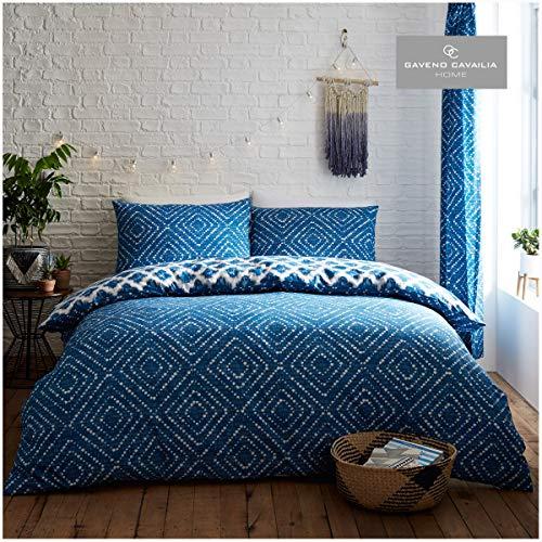 Gaveno Cavailia Geometric Duvet Cover Quilt Set With Pillow Case, Reversible, Poly Cotton, Indigo Diamond Blue, Single Size Bedding, Polycotton