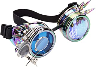 Vintage Steampunk Rave Rainbow Glasses Punk Costume grinderPUNCH Kaleidoscope Goggles