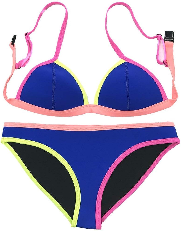 Women's Sexy Colourful Bikini Set,Diving Neoprene Material,Pink\ Green\ bluee Backless