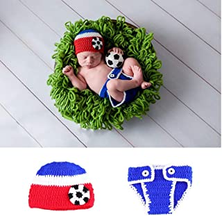 2019 Newborn Hand Knitted Photographic Clothing,Newborn Baby Crochet Knitted Photo Photography Props Handmade Baby Hat Diaper Costume Outfit - Photographic Style Soccer Baby Wool Clothing