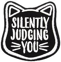 (グラインドストア) Grindstore オフィシャル商品 Silently Judging You ネコ型 ワッペン アップリケ (ワンサイズ) (ブラック)