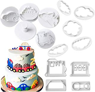 Transportation/Vehicles Cookie Cutters - 13Pcs Set- Car, Airplane, Boat, Train Cutter Cake Fondant Mold - Cloud Cutters for Cake Decorating and Baking Biscuits