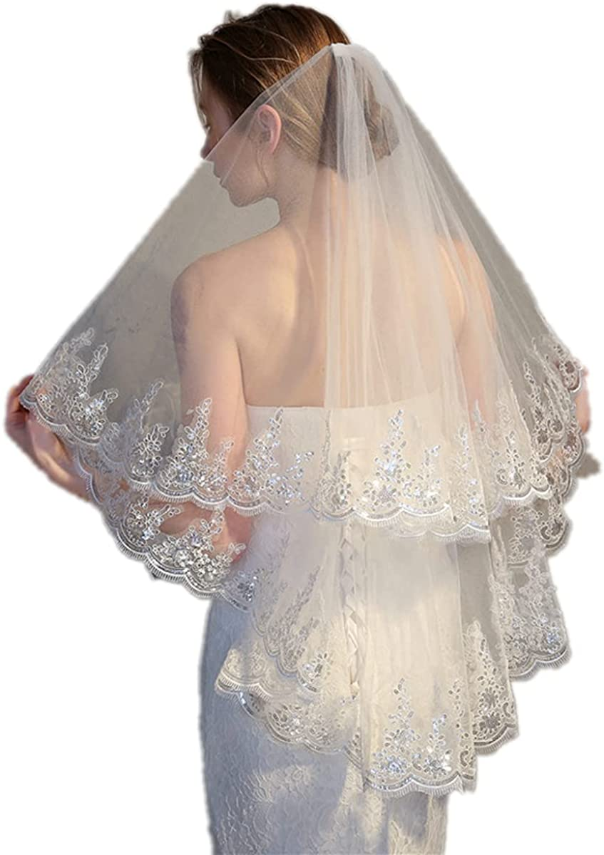 RULTA Women's Wedding Veil Two Tier 2T Fingertip Elbow Veil Embroidered Lace Veil for Bride Headpiece Sequin Veil