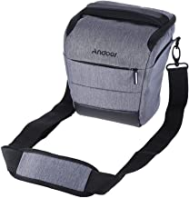 Andoer Portable DSLR Camera Shoulder Bag Sleek Polyester Camera Case for Camera Lens and Small Accessories for Canon Nikon Sony Fujifilm Olympus Panasonic Gray