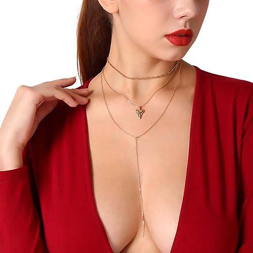 df3fcafa1ad628 Gudukt Layered Chain Necklace Shark Tooth Design Tassel White Rhinestone Choker  Necklaces for Women
