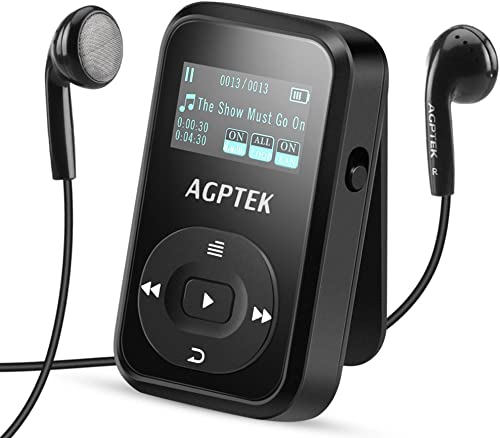 8GB Clip MP3 Player with Bluetooth 4.0 (Upgrade Version A26T), AGPTEK Lossless Sound Music Player with FM Radio Voice...
