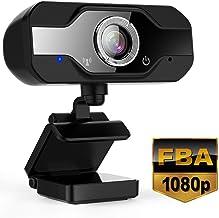 Yobuno Webcam con micrófono 1080P Full HD, Cámara Web USB para videollamadas, Estudio, Conferencia, grabación, diseño Plegable y Giratorio de 360 °, Compatible con Windows, Mac y Android