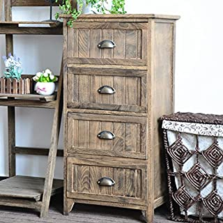DL furniture Night Stand Storage Bedside Table 4 Drawer Real Natural Indus Wood Texture