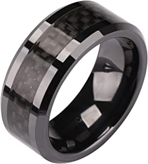 SOMEN TUNGSTEN 6mm 8mm Black Ceramic Ring with Black Carbon Fiber Inlay Wedding Band for Men Women Size 5-14