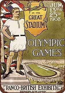 1908Juegos Olímpicos de Londres Vintage Look reproducción Metal Tin Sign 12x 18pulgadas