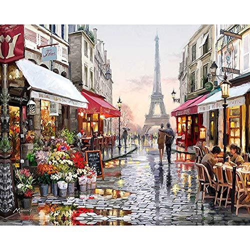 AmandaJ Puzzle 1000 Pezzi Regalo Decorazioni per la casa Immagine Bambini Adulti Parigi Fiore Strada Famiglia Cervello Sfida Assemblaggio Paesaggio Giocattolo educativo Gioco Fai-da-Te