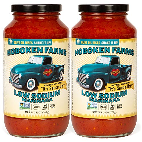 Hoboken Farms Low Sodium Marinara Sauce - Keto Certified, No Sugar Added, Non GMO Project Verified, Kosher, Vegan, Plant Based, and Paleo Friendly (2-Pack)