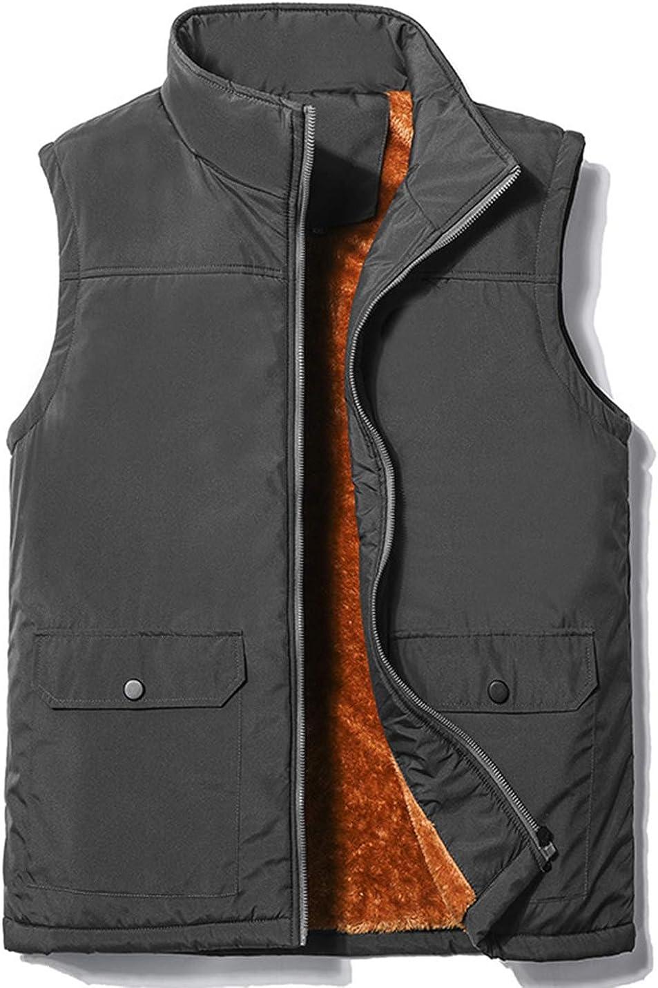 PEHMEA Men's Winter Warm Fleece Lined Sleeveless Jackets Outdoor Padded Fishing Vest