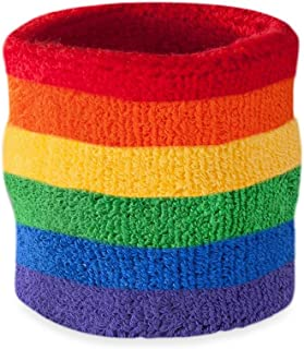 Suddora Striped Wrist Sweatband- Athletic Cotton Terry Cloth Wristband for Sports (1 Piece)(Rainbow)