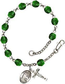 Bonyak Jewelry St. Raphael The Archangel Silver Plate Rosary Bracelet 6mm Fire Polished Beads - Every Birth Month Color