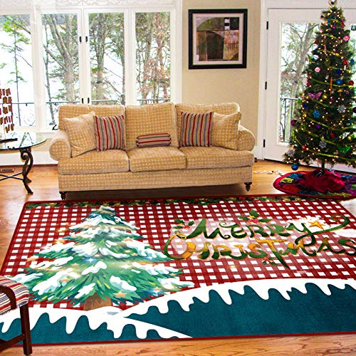 Michance European-Style Simple Christmas Non-Slip Decorative Floor Mat Printing Washable Coffee Table Sofa Cushion Living Room Bedroom Hotel Guest House Party Carpet