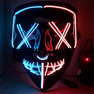 LED Mask Halloween Scary Mask Cosplay LED Costume Mask Light up for Halloween Festival Party