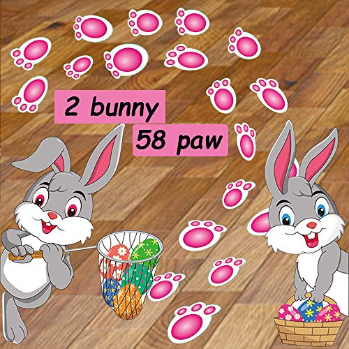 DIYASY 60 Pcs Easter Bunny Footprint Stickers,2 Rabbits and 58 Pink Bunny Paw Prints Floor Decals for Easter Floor Decoration and Egg Hunting Games.12 Sheet