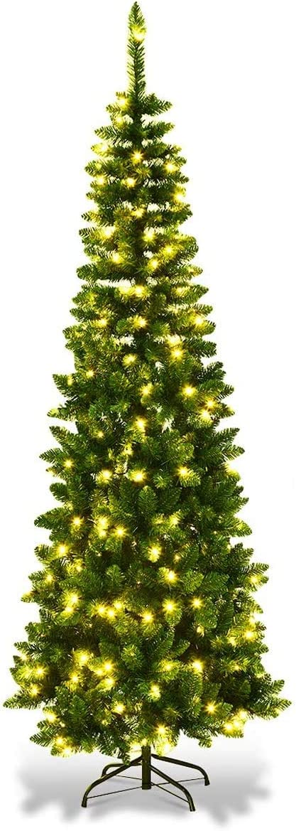 Goplus 6.5FT Prelit Pencil Christmas Tr Hinged At the price of surprise Tree Premium Fir Manufacturer OFFicial shop