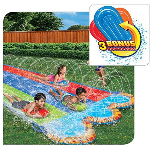 BANZAI Triple Racer Water Slide with 3 Bonus Body Boards