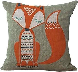 Kavitoz - Funda de cojín de lino con tierna caricatura de zorro,  de 45x 45 cm, para sofá, oficina, decoración, lino, b, 45 x 45 cm