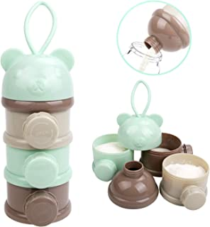 OBloved Baby Milk Powder Formula Dispenser, Non-Spill Twist-Lock Stackable Baby Feeding Travel Snack Container, 3 Compartments with Funnel & Carry Handle, 3 Feeds, No Powder Leakage, BPA Free (Green)