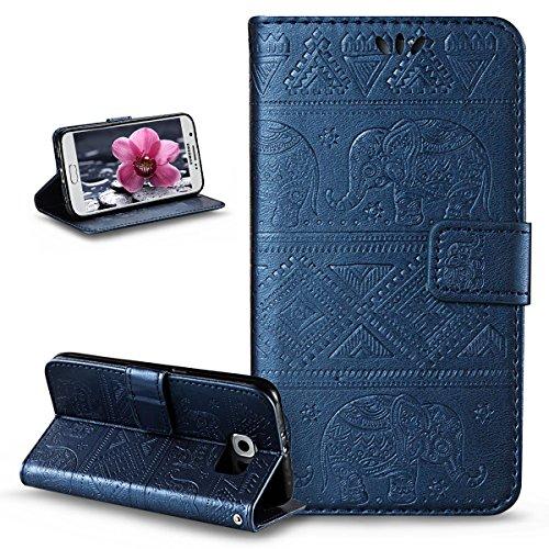 ikasus Compatible avec Coque Galaxy S6 Etui,Embosser Gaufrage Éléphant tribal Housse Cuir PU Housse Etui Coque Portefeuille Protection supporter Flip Case Etui Housse Coque pour Galaxy S6,Bleu marin