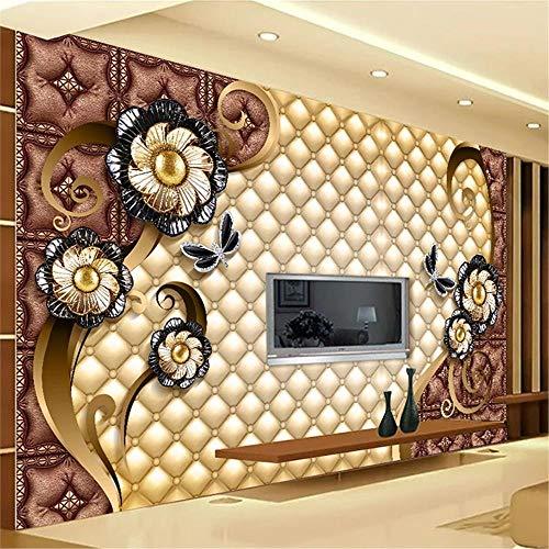 JIYOTTF 3D Wallpaper Foto Wandbild Home Schlafzimmer DekorationAbstrakt Mode Floral Muster(W 400 x H 280cm) 3D Foto Wallpaper Aufkleber Wandtattoo Wandaufkleber Wanddekorationen Wohnzimmer Poster Wan