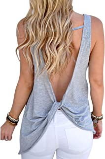 Women Shirt, Sleeveless Shirt Sexy Backless Tank Top Cross Vest Blouse for Ladies