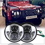 NSLUMO 2pcs/ Silver Defender LED Driving 7'' Round Headlight White Yellow Daymaker Turn Signal Projector Halo Ring Eyes Replacement For Defender 90 110 RHD Headlamp