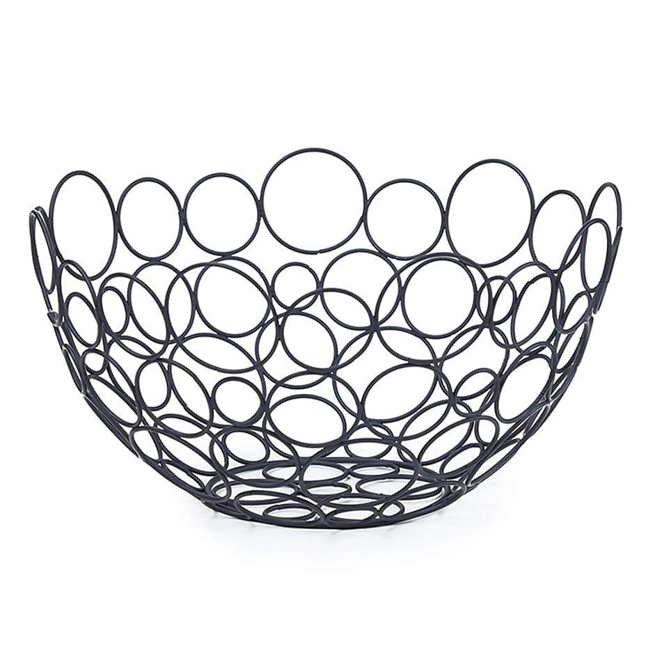 裏切る手スキャンダラスステンレス製フルーツバスケット - 大容量、くり抜き、人間工学的 (色 : ブラック)