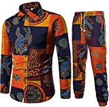 KLJR-Men Linen African Dashiki Print Shirt and Jogger Pants 2 Piece Set one US L