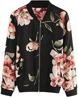 iYYVV Women Fashion Floral Printed Jacket Zipper Chiffon Bomber Outwear Trendy Coat