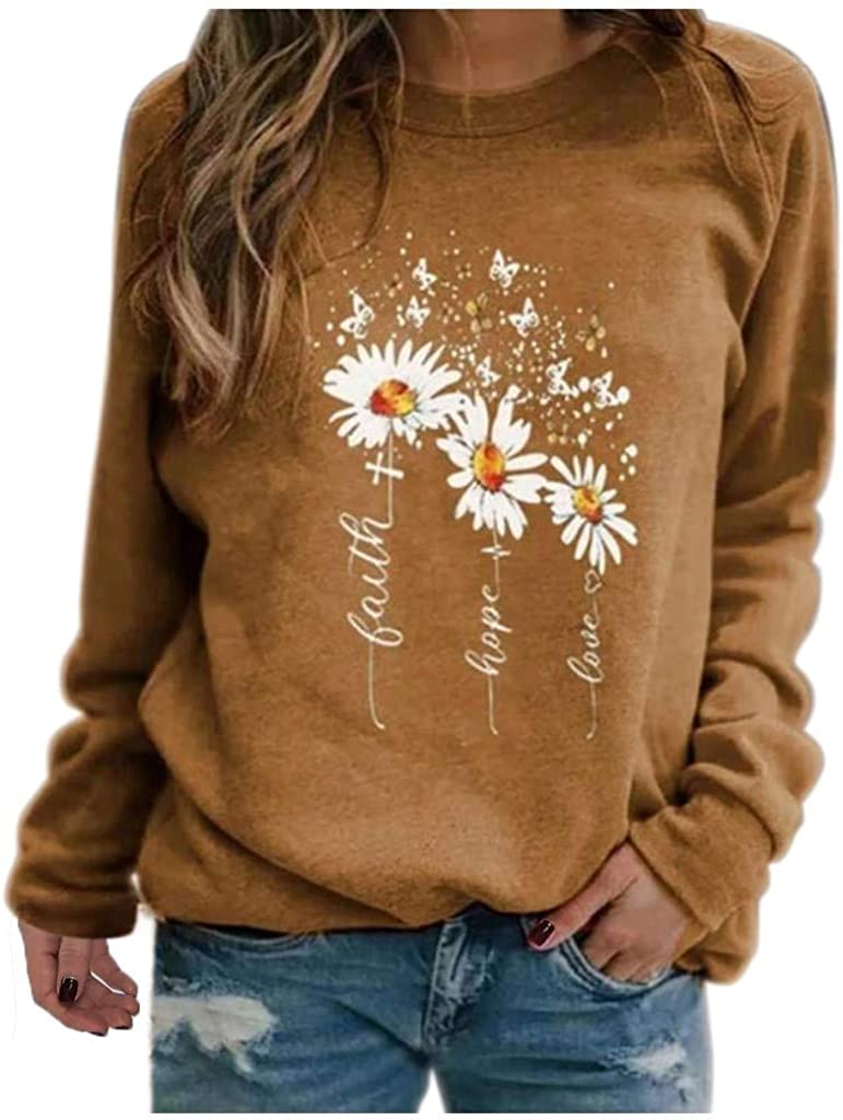 AODONG Long Sleeve Tops for Women,Womens Floral Print Crewneck Sweatshirt Pullover Shirt Blouse Loose Tunic Tops