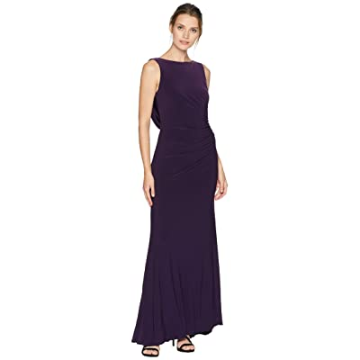 Adrianna Papell Side Draped Jersey Gown (Dark Eggplant) Women