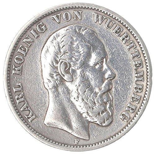 Deutsches Reich / Kaiserreich Münze 5 Mark 1874 F Württemberg Silbermünze - König Karl von Württemberg vz/st *RARITÄT*